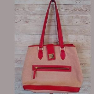 Dooney & Bourke Canvas Leather Tote Satchel Red